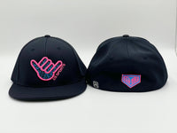 4TF Flatbill Hat - Black / Black with Red White Blue logo