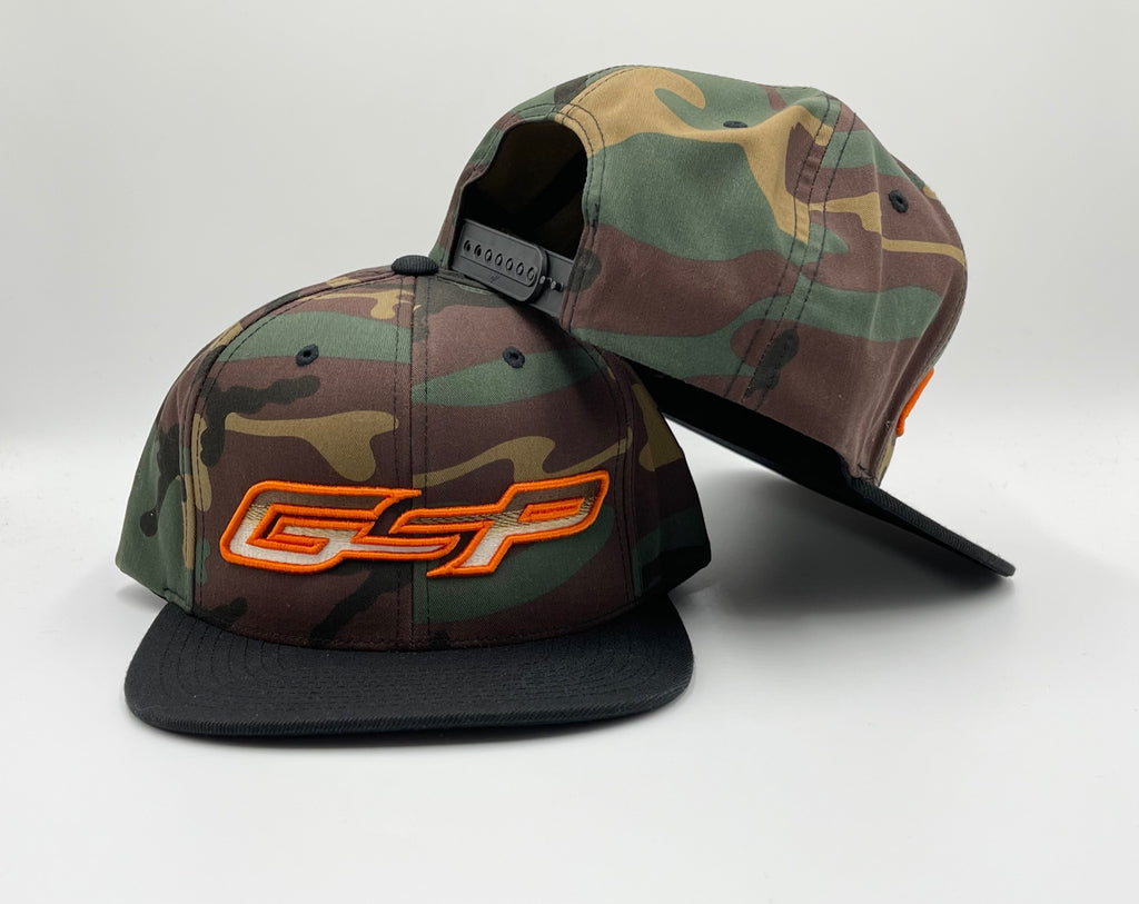 GSP Outdoors Army Camo Flatbill Snapback Hat - Hunter Orange