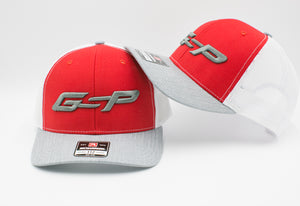 GS Sports GSP Snapback Hat - Red / White / Heather with Grey GSP