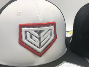 GS Sports Crest PTS30 Hat - White / Black with Red and Carbon Fiber