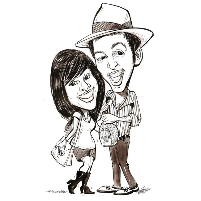 Black Pen Caricature for 2 Persons