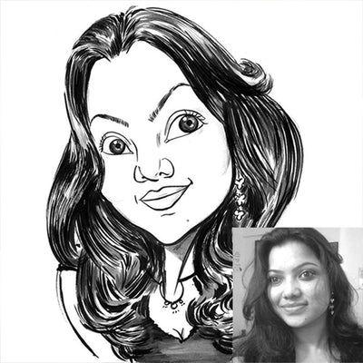 Black Pen Caricature for 1 Person