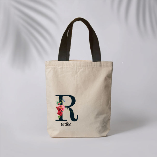 Initial & Name Canvas Tote Bag