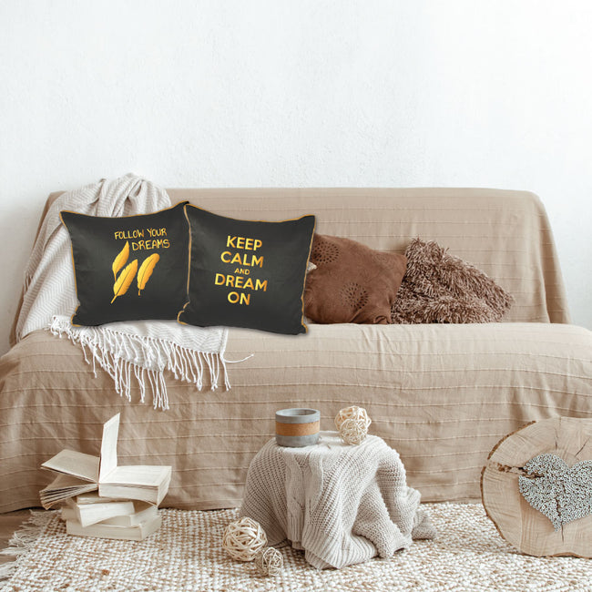 Follow Your Dreams Black Cushion Cover- Gold Print