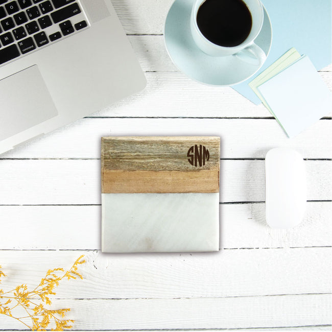 Monogram Marble & Wood Coasters