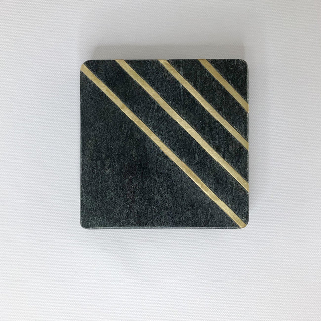 Black marble with brass inlay coasters