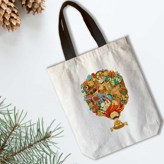 India in Turban Canvas Tote Bag