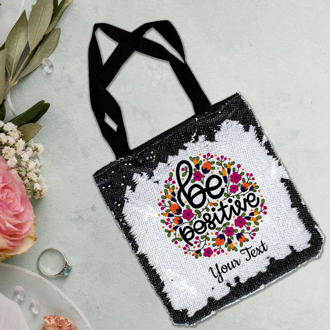 Be Positive Sequin Tote Bag