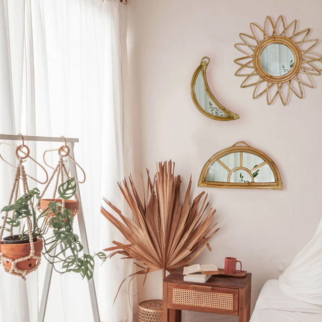Decorative Rattan Moon Mirror
