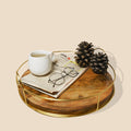 Round Wood Decorative Tray