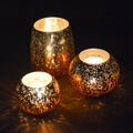 Vintage Glass Tea Light Holders Set of 3