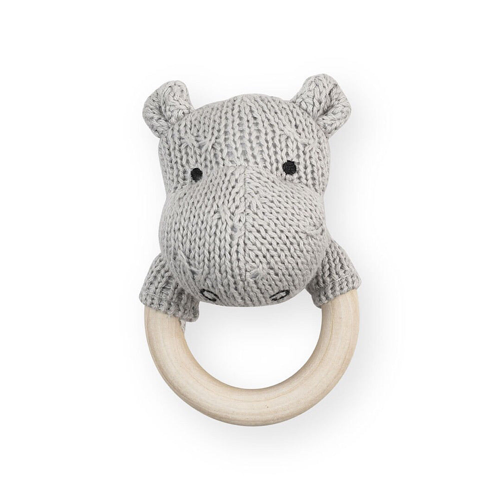 Jollein Rammelaar bijtring Ø 7cm Soft knit hippo light grey