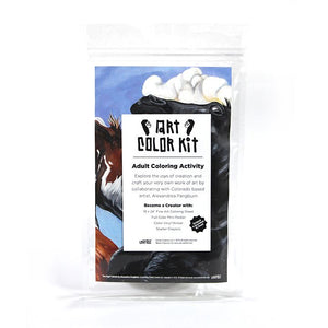 Alex Pangburn's Art Color Kit front view. Clear bag with colorful horse print behind white label with black A.C.K. Logo's elongated letters in Gandy style. Shows that product is handmade in Denver, Colorado and contains Color sheet, Crayons, and sticker