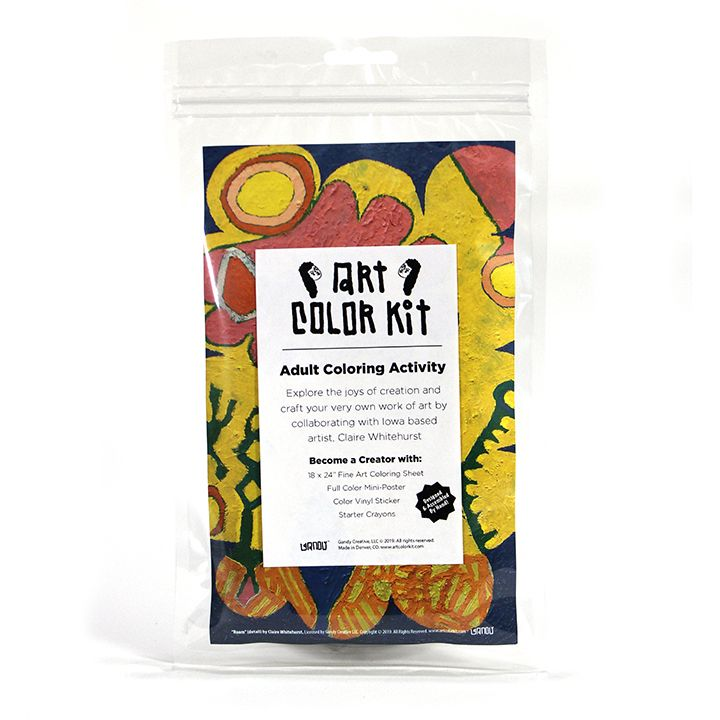 Claire Whitehurst's Art Color Kit front view. Clear bag with colorful abstract print behind white label with black A.C.K. Logo's elongated letters in Gandy style. Shows that product is handmade in Denver, Colorado and contains Color sheet, Crayons, & vinyl sticker