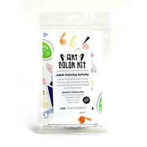 Greg Gandy's Art Color Kit front view. Clear bag with colorful abstract doodles print behind white label with black A.C.K. Logo's elongated letters in Gandy style. Shows that product is handmade in Denver, Colorado and contains Color sheet, Crayons, & vinyl stickers