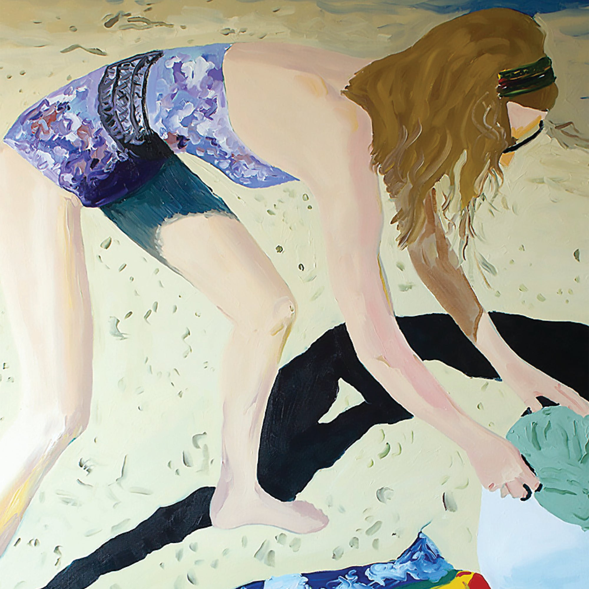 "Close up of Jon Nowell's painting entitled ""Honeymoon"" depicting a young woman in a bathing suit on a beach looking in her bag on top of a patterned beach towel painted with yellows, blacks, purples, blues, reds, greens, and tans."