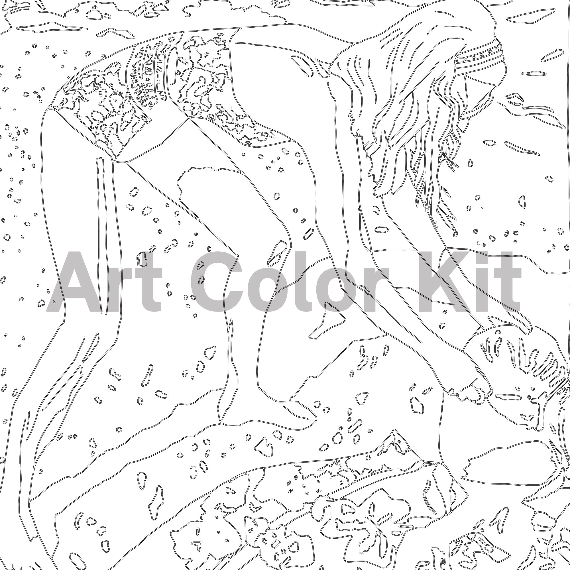 "Close up of Jon Nowell's painting entitled ""Honeymoon"". Depicts a young woman in a bathing suit on a beach looking in her bag on top of a patterned beach towel in black outlines on white. ""Art Color Kit"" watermark across the center of the square image."