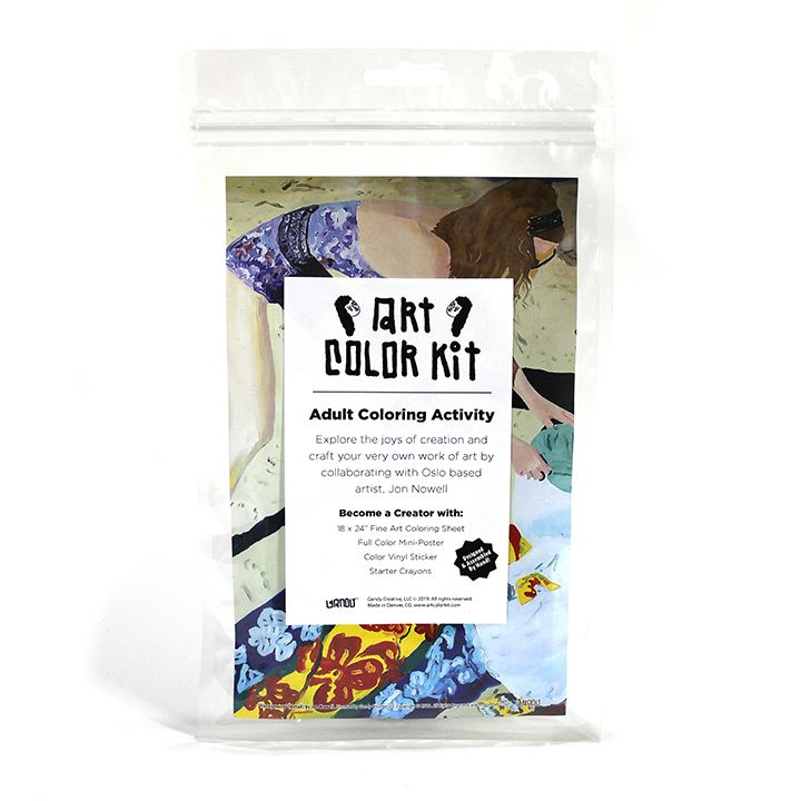 Jon Nowell's Art Color Kit front view. Clear bag with colorful woman on beach print behind white label with black A.C.K. Logo's elongated letters in Gandy style. Shows that product is handmade in Denver, Colorado and contains Color sheet, Crayons, & vinyl sticker