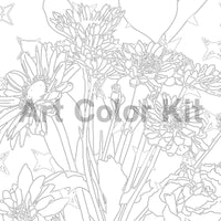 Art Color Kit: Flowers Adult Coloring Activity with Artist Kate Burlech