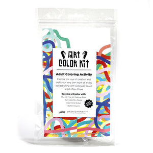Olive Moya's Art Color Kit front view. Clear bag with colorful squiggly lines print behind a white label with black A.C.K. Logo's elongated letters in Gandy style. Shows that product is handmade in Denver, Colorado and contains Color sheet, Crayons, & vinyl sticker