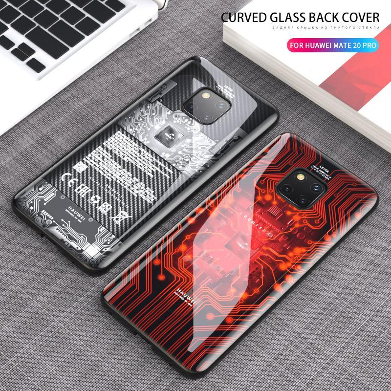 Back Tempered Glass Soft Edge TPU Silicone Case For Huawei p30 pro mate 20 pro