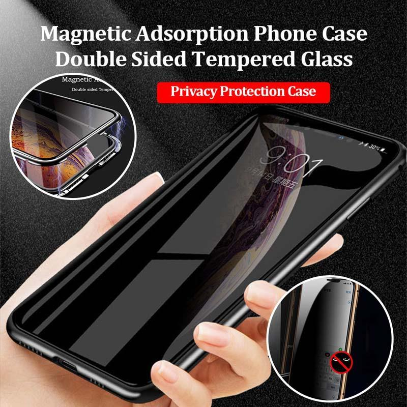 Anti-peep Double-sided Magnetic Privacy Tempered Glass Case For iphone 8 8plus 7 7plus