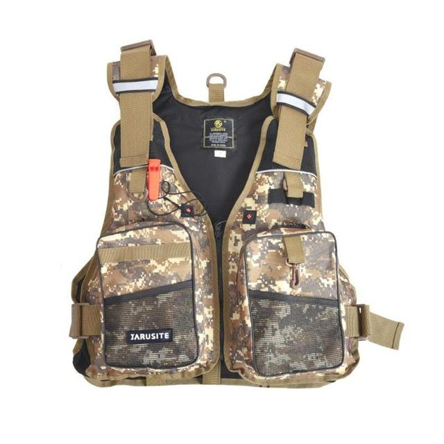 ADJUSTABLE FLY FISHING VEST WITH SAFETY FEATURES.
