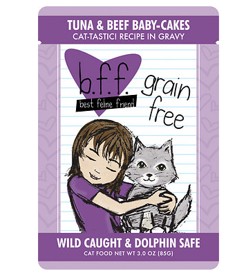 BFF Tuna & Beef Babycakes Cat Food Pouch Case 24/3 oz.
