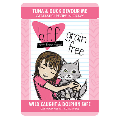 BFF Tuna & Duck Devour Me Cat Food Pouch Case 24/3 oz.