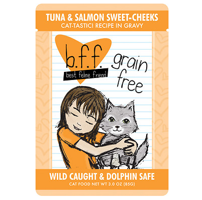 BFF Tuna & Salmon Sweet Cheeks Cat Food Pouch Case 24/3 oz.