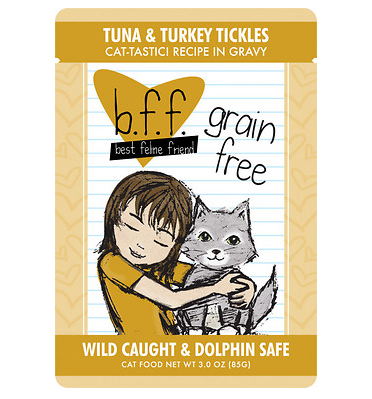 BFF Tuna & Turkey Tickles Cat Food Pouch Case 24/3 oz.