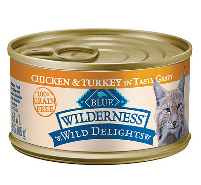 BLUE BUFFALO Wild Delights Chicken and Turkey Canned Cat Food 24/3 oz