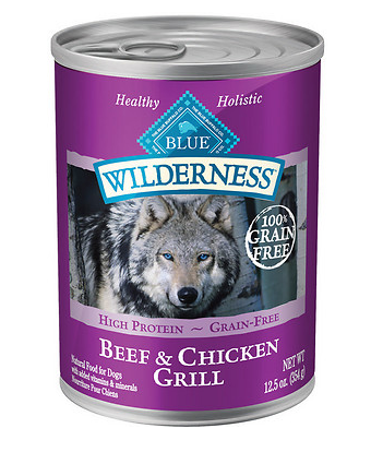 BLUE BUFFALO Wilderness Beef and Chicken Grill Canned Dog Food 12/12.5 oz