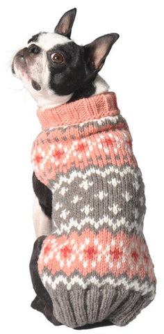 CHILLY DOG Peach Fair Isle Sweater
