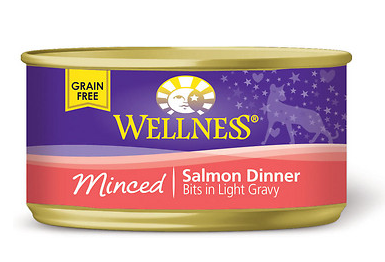 WELLNESS Minced Salmon Canned Cat Food Case 24/3 oz