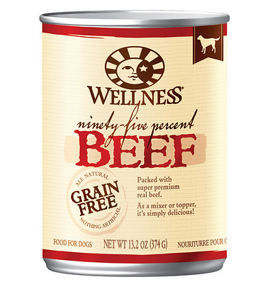 WELLNESS 95% Beef Grain-Free Canned Dog Food 13.2 oz CASE/12