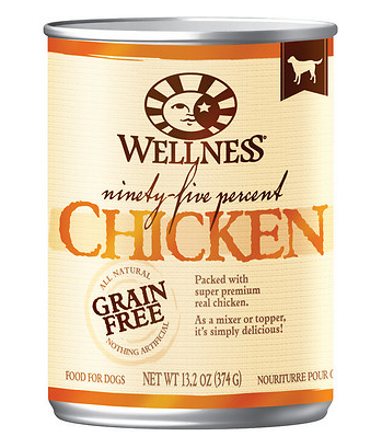 WELLNESS 95% Chicken Grain-Free Canned Dog Food 13.2 oz Case