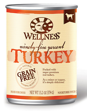 WELLNESS 95% Turkey Grain-Free Canned Dog Food CASE 13.2 oz/12