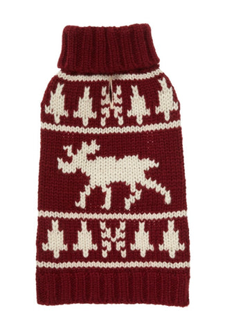 FAB DOG Burgundy Moose Sweater