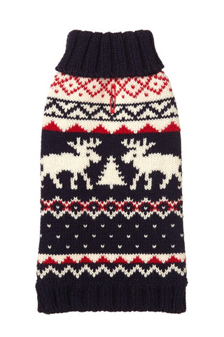 FAB DOG Navy Moose Sweater