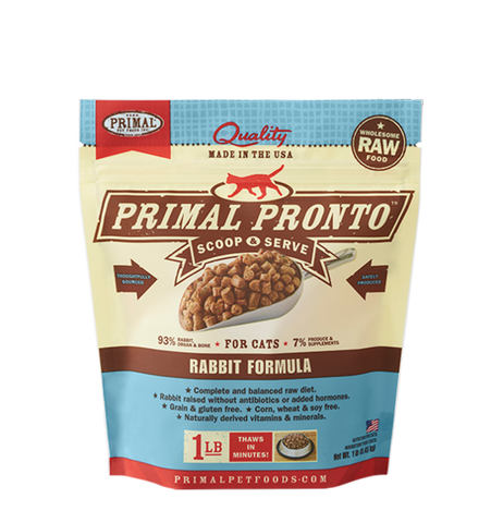PRIMAL Pronto Frozen Raw Feline Rabbit Formula 1 lb.