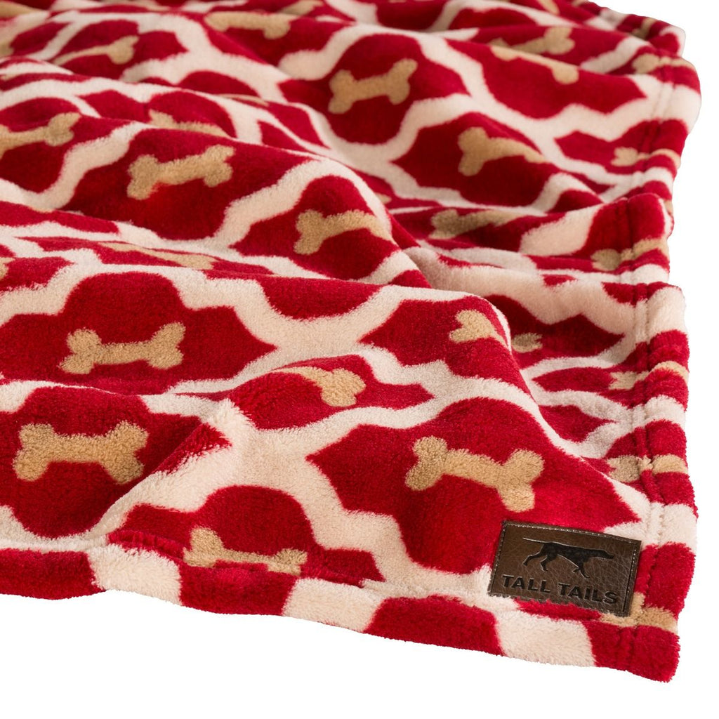 TALL TAILS Dog Blanket Red Bones