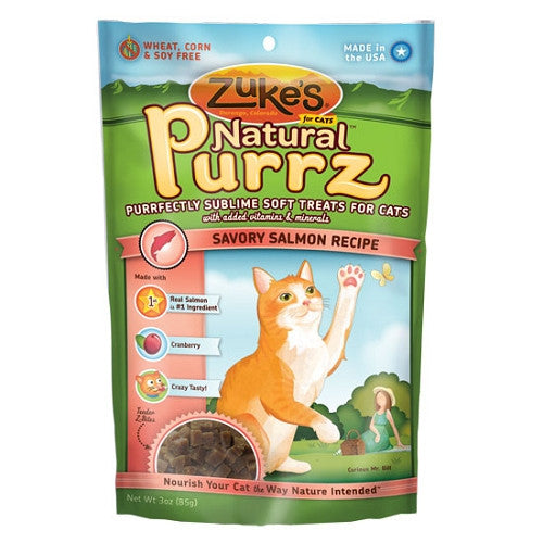 ZUKE'S Natural Purrz Salmon Treat for Cats 3oz