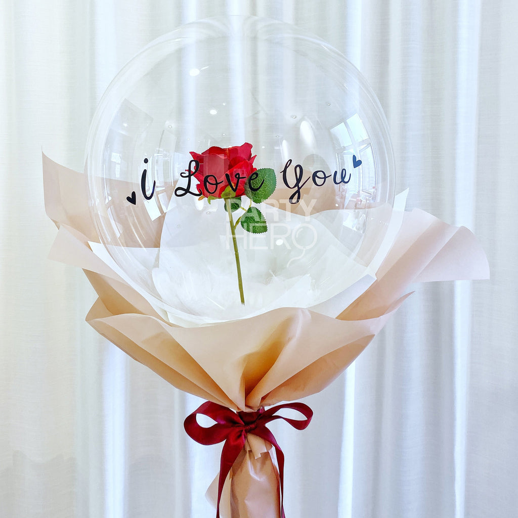 "12"" Flower x Crystal Balloon with ""I Love You"""