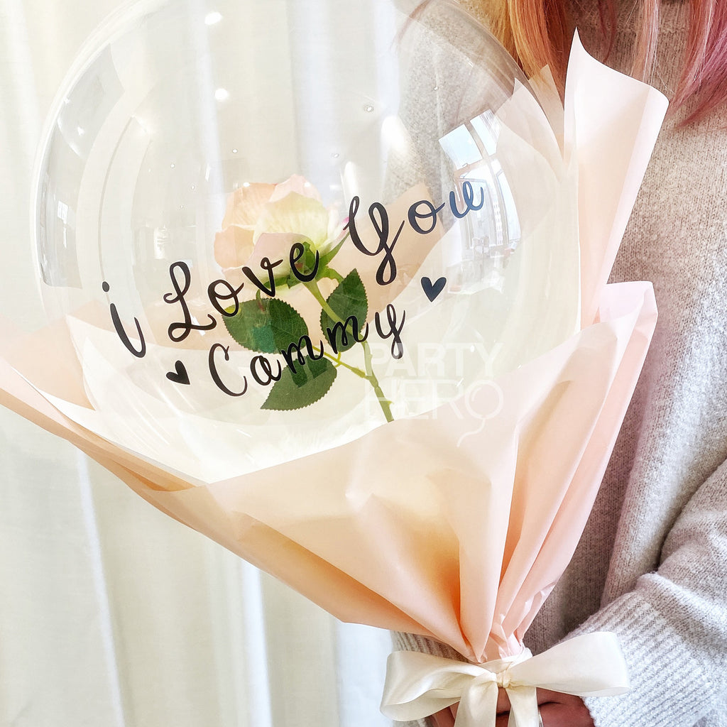 "12"" Flower x Crystal Balloon with ""I Love You"" & Custom Name"