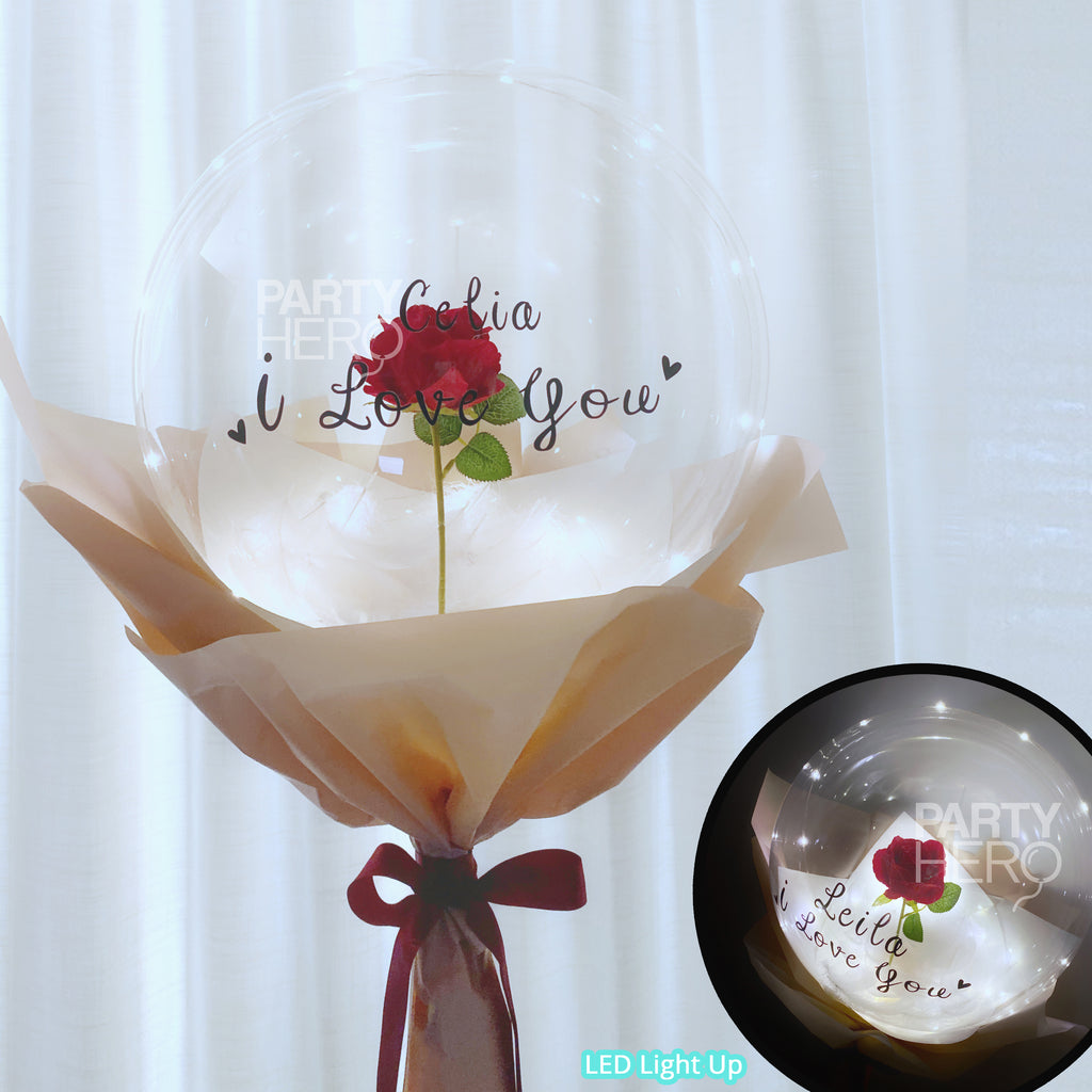 "12"" Flower x LED Crystal Balloon with ""I Love You"" & Custom Name"