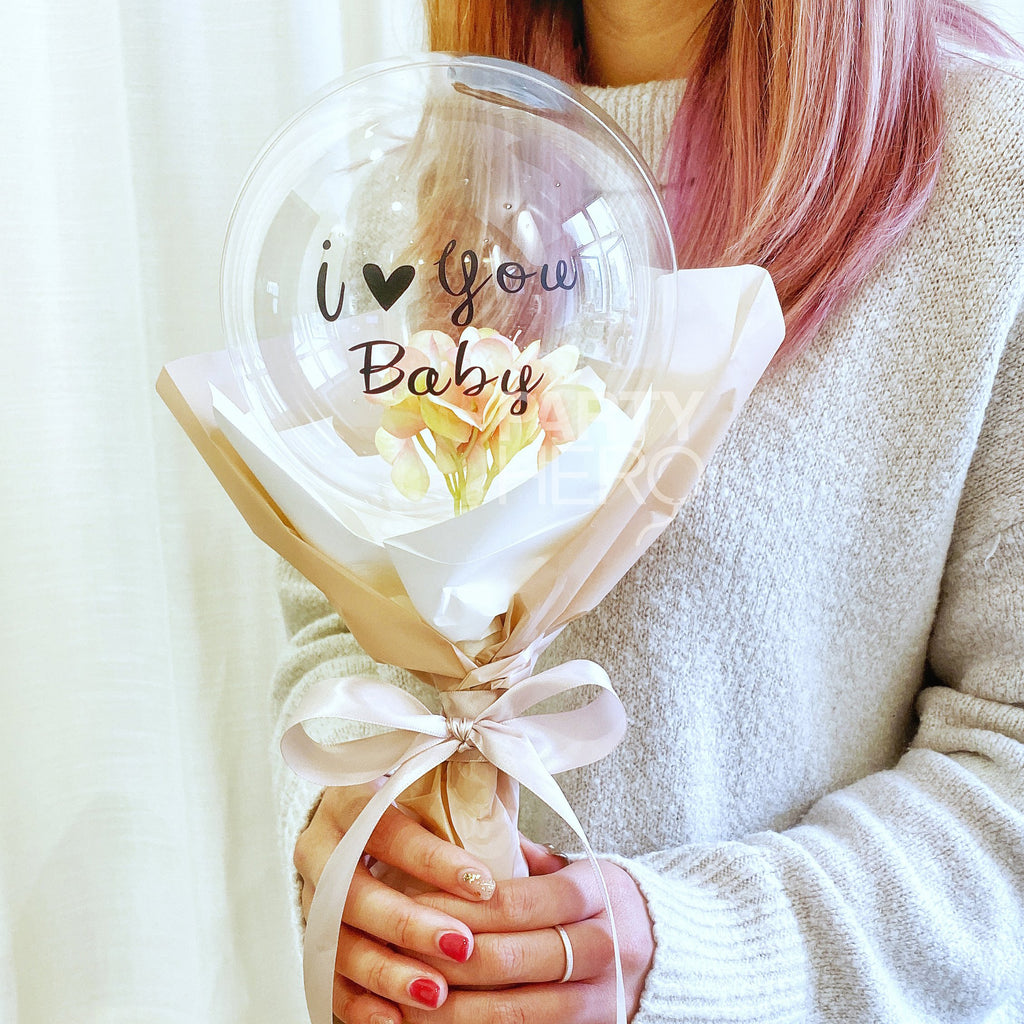 "7"" Flower x Crystal Balloon with ""I Love You"" & Custom Name"