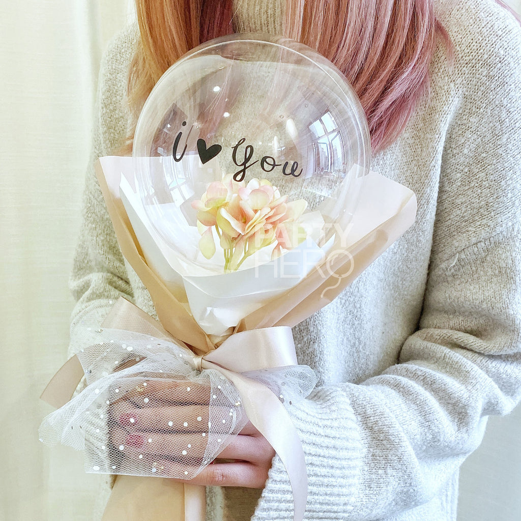 "7"" Flower x Crystal Balloon with ""I Love You"""