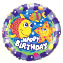 Birthday Smilin'fish Round Foil Balloon 18in / 46cm