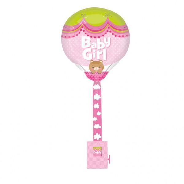 Girl Hot Air Balloon - Attached To Weighted Greeting Card Die Cut Pink Foil Balloon 16in x 32in / 41cm x 82cm